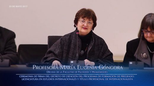 Decana Ma. Eugenia Góngora, Ceremonia firma nueva carrera Internacionalista Universidad de Chile